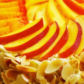 Almond Meringue Cake With Peaches.