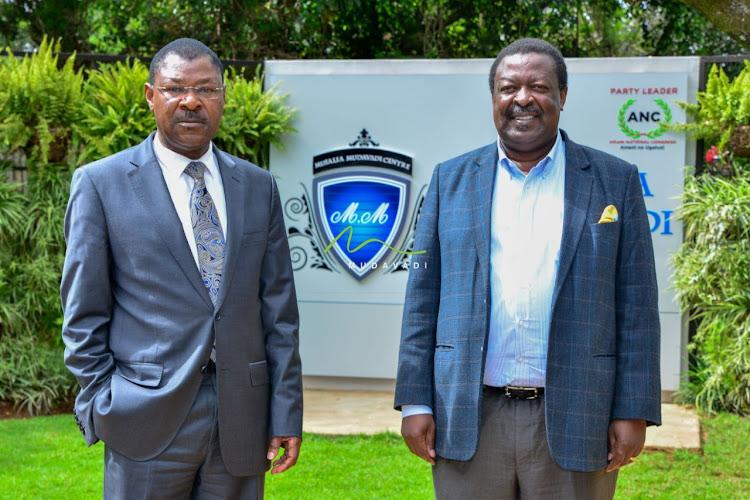 ANC leader Musalia Mudavadi and his Ford Kenya counterpart Moses Wetangula at the Musalia Mudavadi Centre on Tuesday, May 26, 2020.