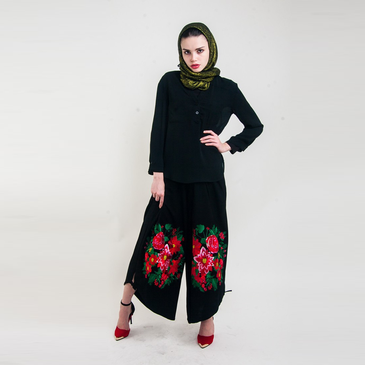 Embroided Wide Leg Trousers by Hijab Le Modesty