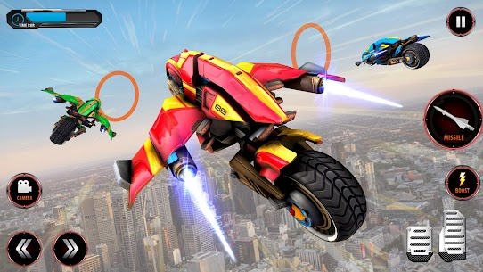 Flying Police Helicopter Bike Transform Robot Game 5