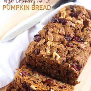 Vegan Cranberry Walnut Pumpkin Bread.