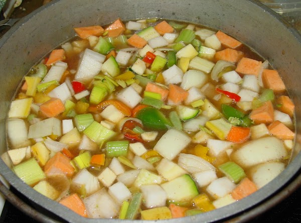 When all veggies are prepared, place the defatted broth in a very large stockpot...