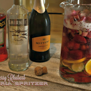 Strawberry Rhubarb Sangria Spritzer.