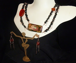 Photo: <BEREHYNYA> {Great Goddess Protectress} unique one-of-a-kind statement jewellery by Luba Bilash ART & ADORNMENT  STOLEN GODDESS (Persephone) - ВКРАДЕНА БОГИНЯ - copper enamel pendant, onyx, carnelian, rose gold vermеil chains/lobster claw clasp/lever backs SOLD/ПРОДАНИЙ