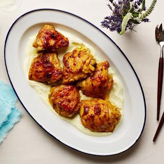 Garlic-Curry Chicken Thighs With Yogurt Sauce