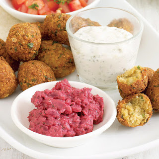 Falafel with Beet Dip and Tzatziki.