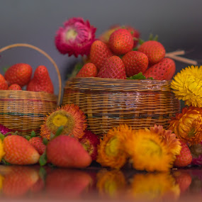 Strawberries and flowers. by John Greene - Flowers Flower Arangements ( colorful, romantic, strawberries and flowers, john greene, valentine )