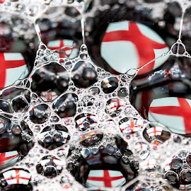 ENGLAND EXPECTS by Russell Mander - Abstract Water Drops & Splashes ( flag and bubbles, english flag, reflections, flag in water, bubbles )