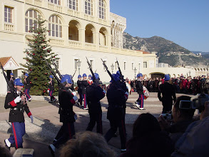 Photo: And the military band departs – the whole thing taking 5 minutes, and ending as the tower clock chimes noon.