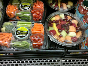 Photo: I picked up a prewashed, precut veggie tray for $5.88 for making veggie kabobs. My friend already has a bunch of fruit in her fridge otherwise I would buy a fruit tray as well.