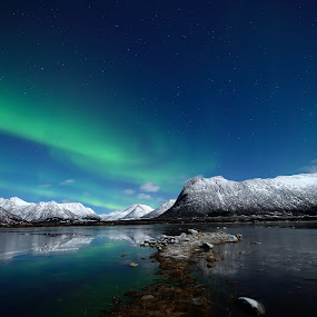 aurora by Marius Birkeland - Landscapes Starscapes ( water, mountains, reflection, winter, sky, snow, aurora,  )