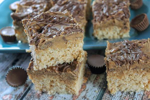Peanut Butter Cup Rice Krispie Treats Cut Into Squares.
