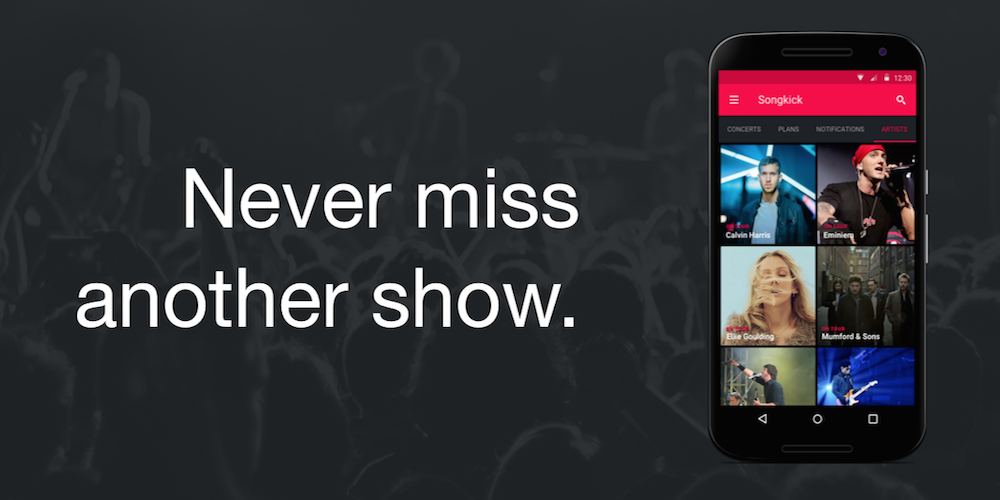 Screenshot 2 for Songkick's Android app'