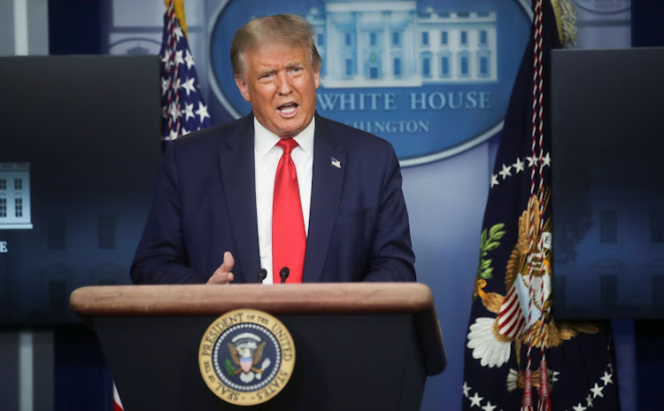 U.S. President Donald Trump speaks during a coronavirus disease (COVID-19) pandemic briefing in the Brady Press Briefing Room of the White House in Washington, U.S., August 3, 2020. REUTERS/Jonathan Ernst