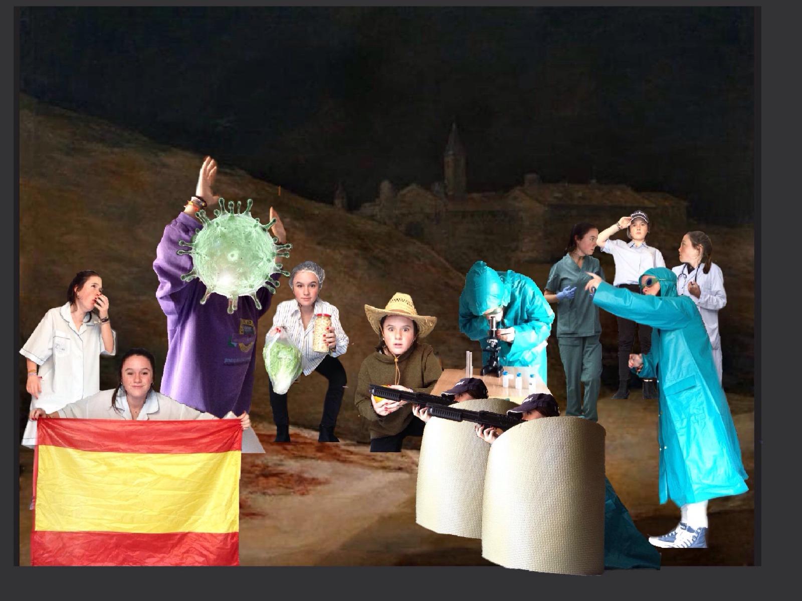 """Título: """"El fusilamiento del coronavirus"""" Obra del pintor Francisco de Goya """"Los fusilamientos del 3 de mayo"""""""
