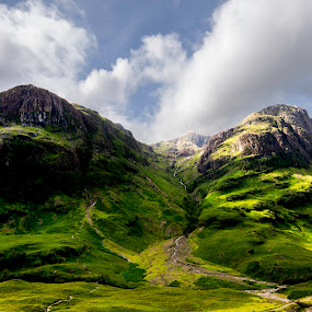 Highland view by Graham Kidd - Landscapes Mountains & Hills ( clouds, scotland, mountain, green, shadows )