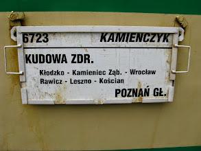 Photo: Kudowa Zdrój: tablica kierunkowa pociągu Kamieńczyk