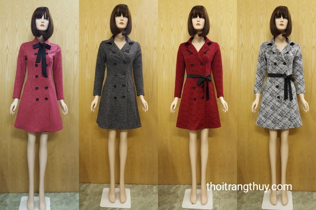 Áo khoác váy xòe cổ ve với hai hàng cúc vải dạ V495 thời trang thủy