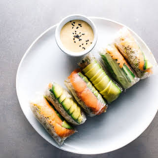 Smoked Salmon and Avocado Summer Rolls.