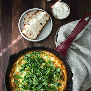 Onion Frittata with Goat Cheese and Arugula.