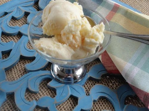 "Creamy Peach Ice Cream ""I probably had an extra 2 scoops just..."