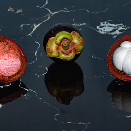 Purple Mangosteen Exotic Asian Fruit Thailand Fruits by James Morris - Food & Drink Fruits & Vegetables ( mangosteen, fruits, fruit, thailand, asian, purple, exotic )
