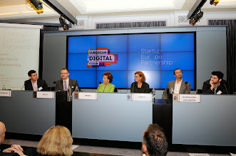 Photo: Mark Silverstein, head of product, tech, IP and policy at Spotify; Teemu Suila, chief operating officer of Rovio; Neelie Kroes, vice-president of the European Commission responsible for the digital agenda; Sherry Coutu, angel investor and non-executive director of the London Stock Exchange Group; Boris Veldhuijzen van Zanten, founder and CEO of The Next Web and member of the Leaders Club; and Kaya Taner, CEO and co-founder of Applift and member of the European board of Application Developers Alliance