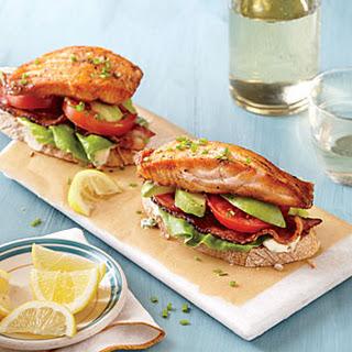 Open-Faced Salmon and Avocado BLTs.