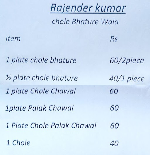 Shakyawar Chole Bhature Corner menu 1