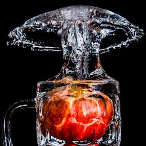 Red Apple by Ray Shiu - Food & Drink Fruits & Vegetables ( mug, water, isolated, f&b, fruit, red, beverage, splash, food, apple, artistic, healthy, eat, black, edible,  )