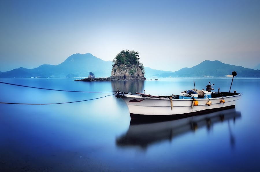 Bluish time by Hiro Ytwo - Landscapes Waterscapes ( reflection, blue, sea, landscape, boat )