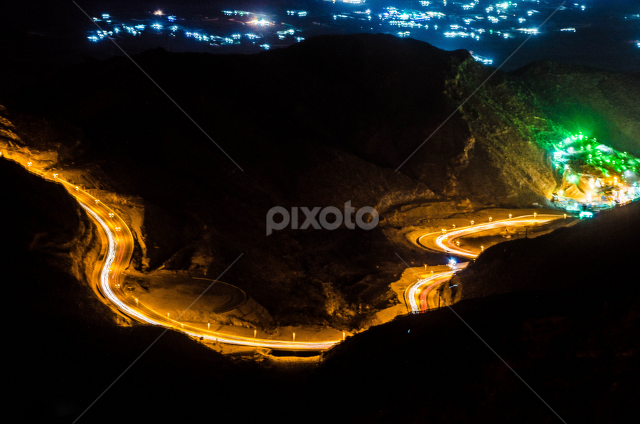 Taif Mountain Zigzag Road by Rodolfo Dela Cruz - Abstract Light Painting ( abstract, lights, mountain, long exposure, road )