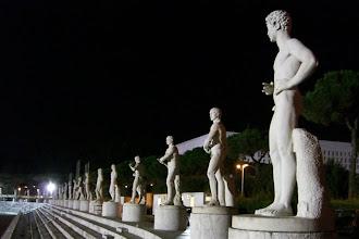 Photo: Massive statues outside the stadium