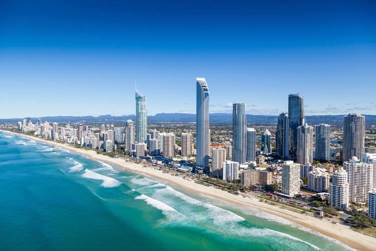 The lively, scenic shoreline along Australia's Gold Coast.