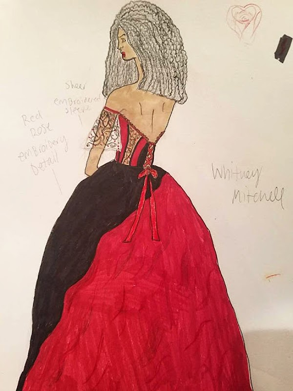 A fashion sketch of the back of a black and red ballgown with a corset bow. Notes in pencil are scattered around the drawing.