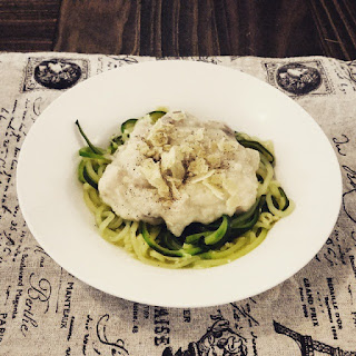 Zucchini Noodles with Chicken & Cauliflower Sauce