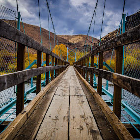 Suspension Bridge by Penny Miller - Buildings & Architecture Bridges & Suspended Structures ( eastern washington suspension bridge, walking suspension bridge, suspension bridge, bridge over river, umtanum bridge, yakima river suspension bridhe, bridge,  )