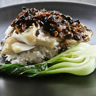Roasted Rockfish with Black Bean, Garlic and Ginger Sauce.