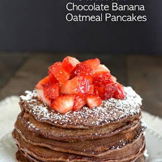 Skinny Chocolate Banana Oatmeal Pancakes.
