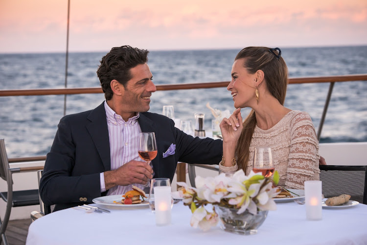 Enjoy dining al fresco on Le Ponant.