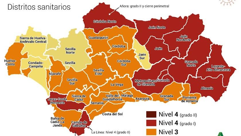 Mapa de los niveles de medidas preventivas Covid-19 en Andalucía a partir del lunes 11 de enero.