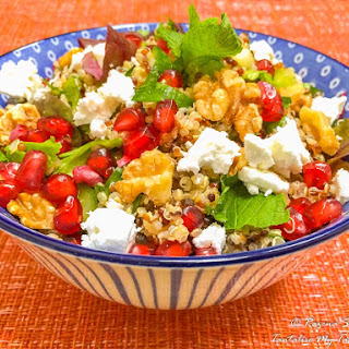 Tricolor Quinoa Salad With Pomegranate, Walnuts And Feta