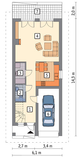 Szczupły - wariant II - C203b - Rzut parteru