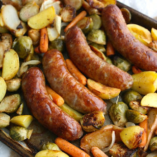 Oktoberfest Sheet Pan Brats with Roasted Vegetables.