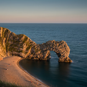Durdle Door at Sunset by Mike Hayter - Landscapes Caves & Formations ( natural arch, sunset, isle of purbeck, beach, durdle door )