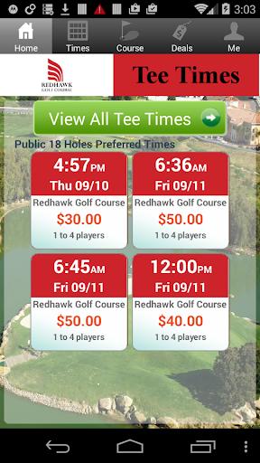 Redhawk Golf Tee Times