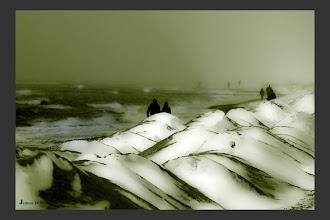 Photo: Küste im Schneesturm