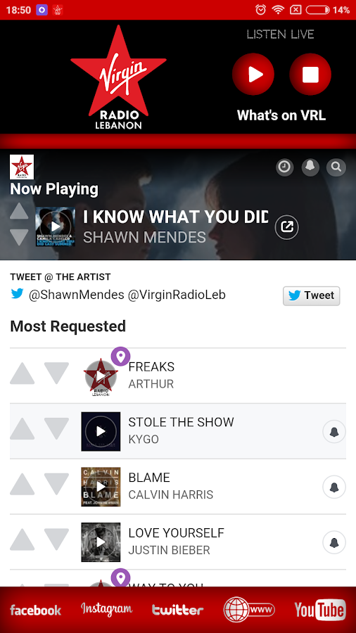 Virgin Radio Lebanon- screenshot