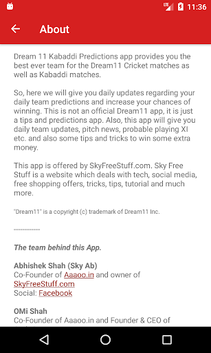 Dream 11 Kabaddi Predictions 1.3 screenshots 3