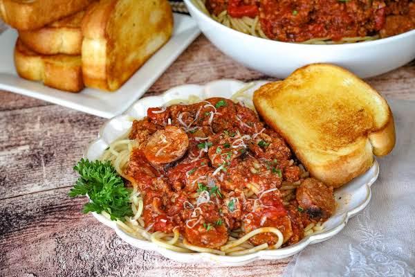 Mom's Spaghetti Sauce Over A Plate Of Spaghetti.